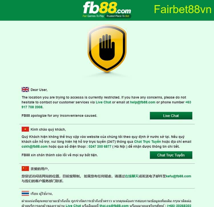 Fb88 bị chặn không vào được